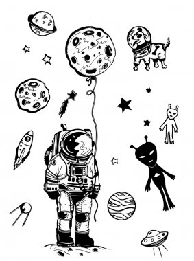 Space elements, rocket, stars, dog in space isolated in white background clip art vector