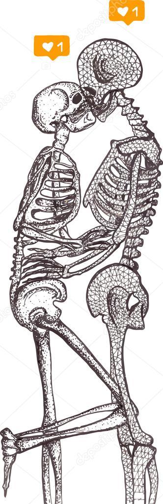 d9efe09776 Csontvázak szerelem illusztráció, csontvázak, csontvázak, elszigetelt,  csontvázak, rajz– stock illusztrációk