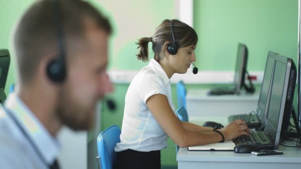 positive girl working in call center