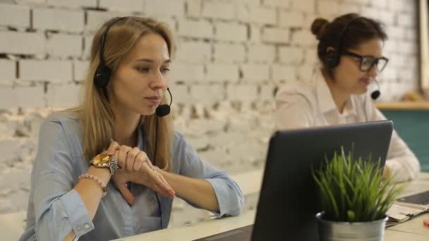 Customer service team woman call center smiling operator phone