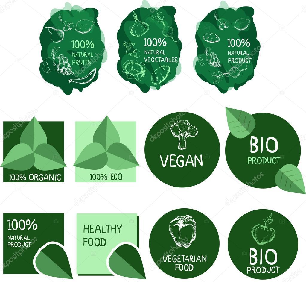 Vector logo set. Healthy food.