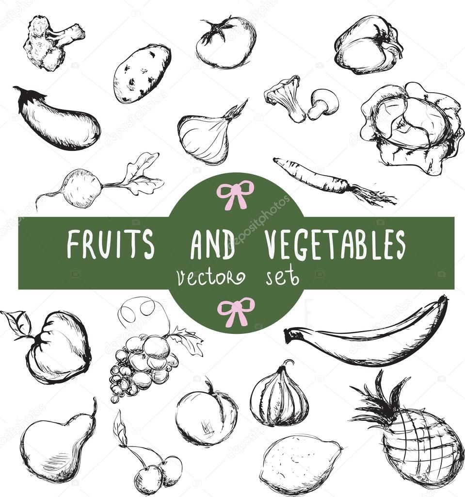 Vector set of hand drawn vintage fresh fruits and vegetables