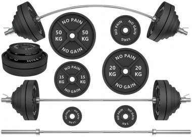 3D Studio shots of a metal barbells and weights isolated on white background. For GYM and fitness stock vector