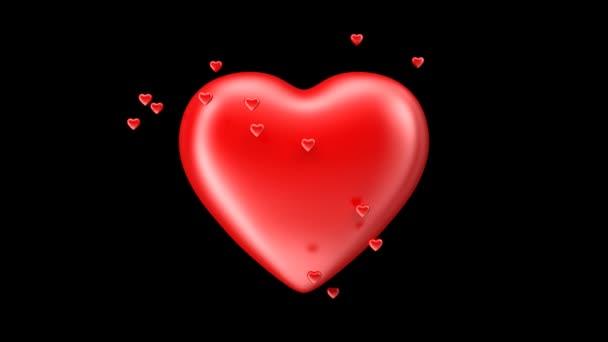 Großes Herz mit fliegenden kleine Herzen schlagen. Alpha ...