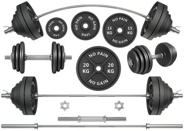Shots of a metal barbells and weights