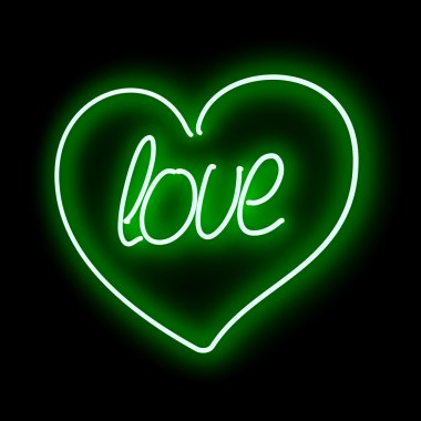 Neon heart with  inscription LOVE on a black background