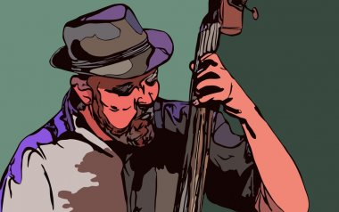 Concept for jazz poster. Man playing double bass.