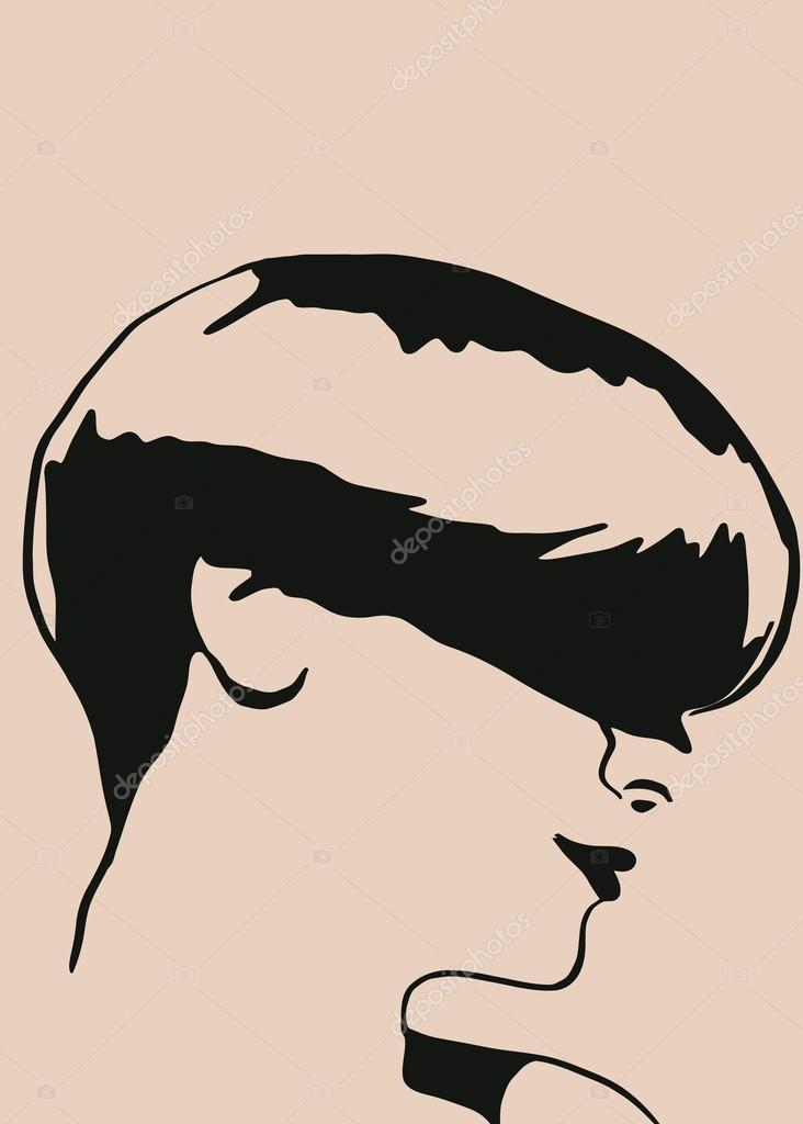 Sketch Of The Head Of A Girl With Short Hair Stock Vector