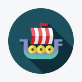 Viking ship flache Icon mit langen Schatten