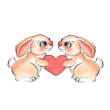 Cartoon rabbits. Watercolor illustration
