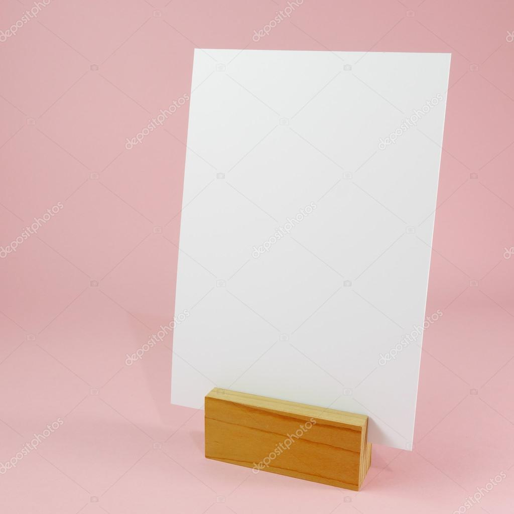 blank menu card with wooden standing dock 2 stock photo