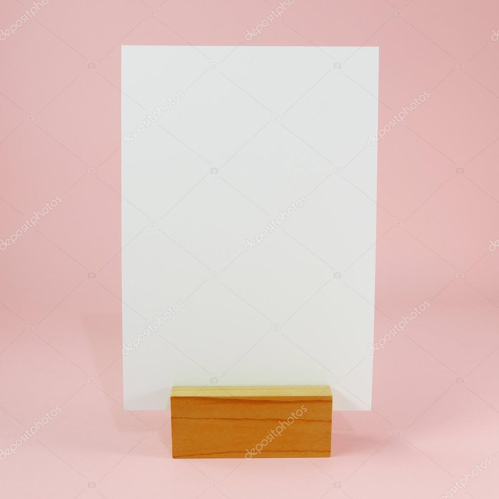 blank menu card with wooden standing dock 1 stock photo