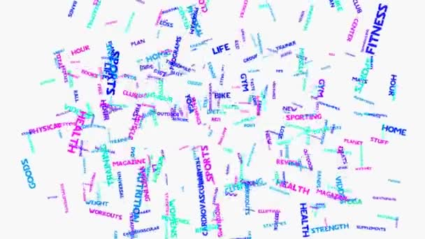 Fitness health exercise word cloud typography animation