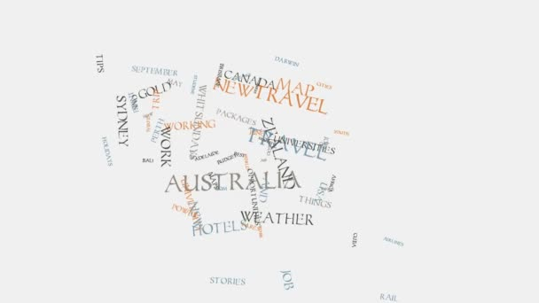 kangaroo Australia cities travel hotels and tourism word cloud text typography