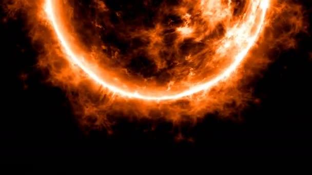 Sluneční animace zblízka s jasnou horkou koronou ohnivé plameny oranžová