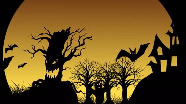 Halloween Animation with evil spooky scary horror bats, jack-o-lantern, tombstone and ghost