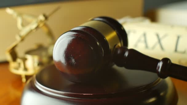Tax Law justice litigation concept with gavel and hammer