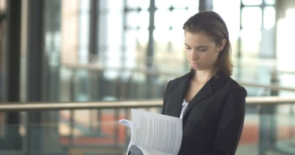 Career corporate business woman portrait busy with paper work