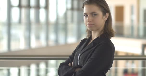 Confident corporate Business woman person in office building