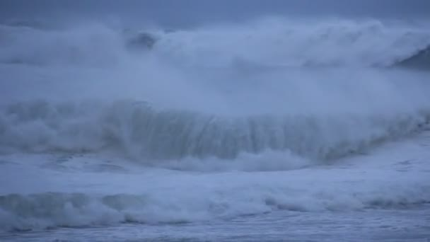 Stormy Ocean Sea with Crashing Waves and Cyclone Hurricane Winds