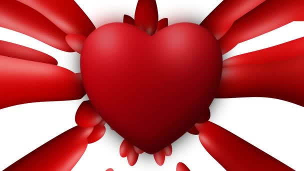 Valentine love heart thumping beating on white background