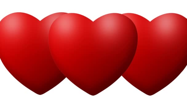 Red Love hearts thumping beating on white background
