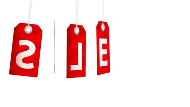 Große Verkaufsanimation mit rotierenden roten Tags für Shopping-Verkäufe und Promotions