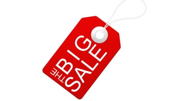 Große Verkaufsanimation mit roten Tags für Shopping-Verkäufe und Promotions