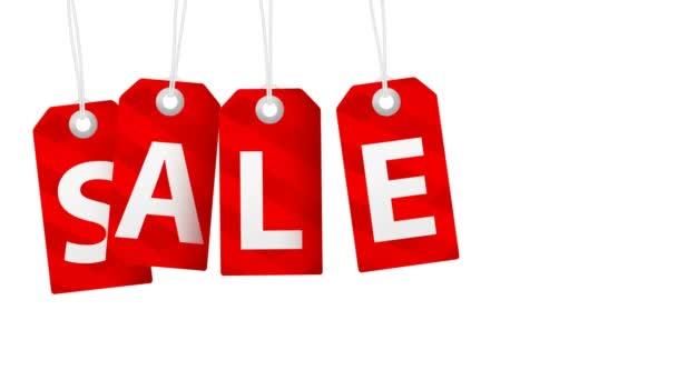 Verkaufsanimation mit roten Tags für Shopping-Verkäufe und Werbeaktionen