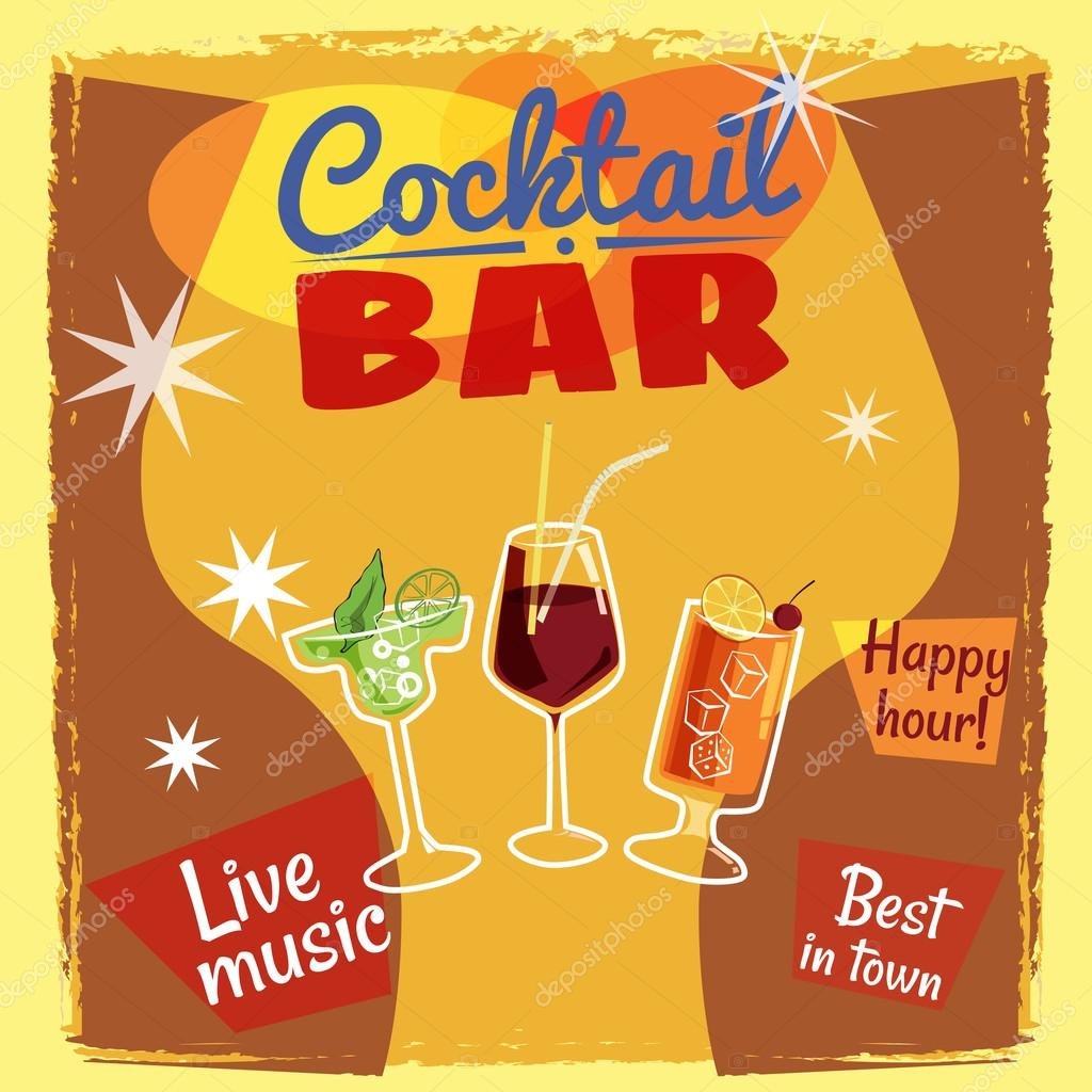Cocktail bar invitation flyer cartoon style banner vector cocktail bar invitation flyer cartoon style banner vector illustration vetor stopboris Images