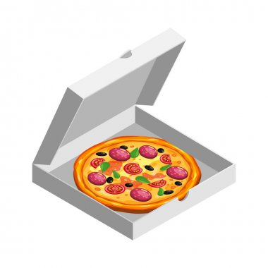 Pizza isometric in open white cardboard box. Package template, delivery, flat design. Vector isolated illustration icon