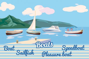 Set against the backdrop of boats and the sea landscape of mountains, boat, sailing, pleasure boat, speed boat