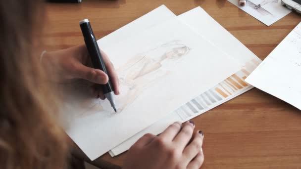 Hand drawing felt-tip pen on white paper sheet