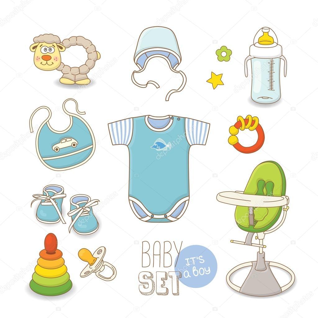 Juego de ropa de bebé y accesorios para niño — Vector de stock ... 28e184274e9