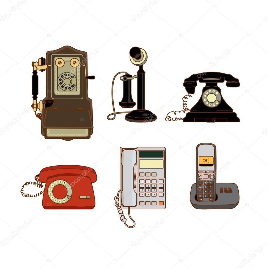 Dibujos Telefonos Antiguos Conjunto De Teléfonos Modernos Y
