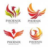 Elegant phoenix logo set