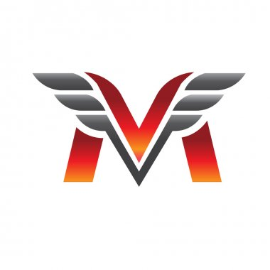 letter M with wing logo vector
