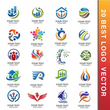 best Business Corporate Logo Set ector