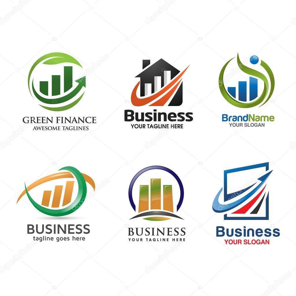 8f77af132 conjunto de logotipo marketing e finanças — Vetores de Stock ...