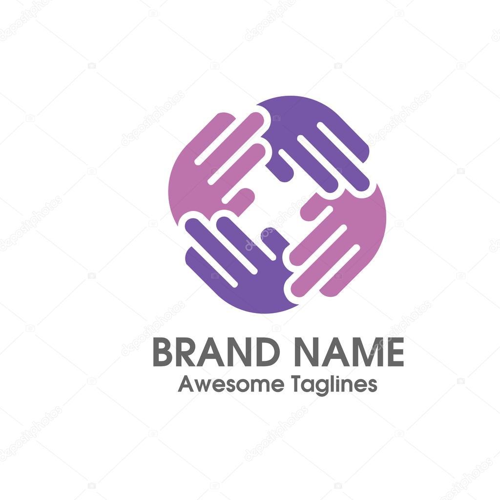 hand social charity team logo