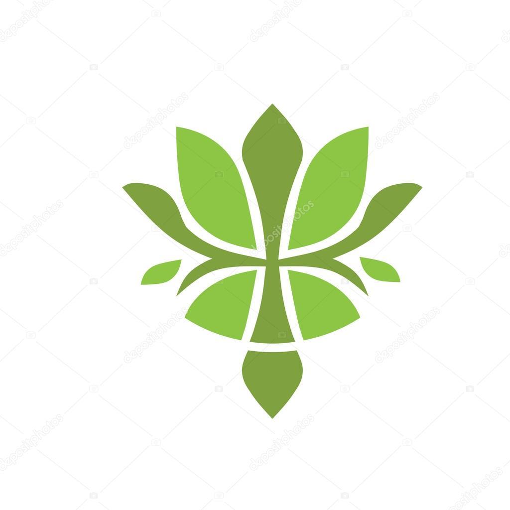 Logo Flor Verde Logo De Flor De Loto Verde Vector De Stock