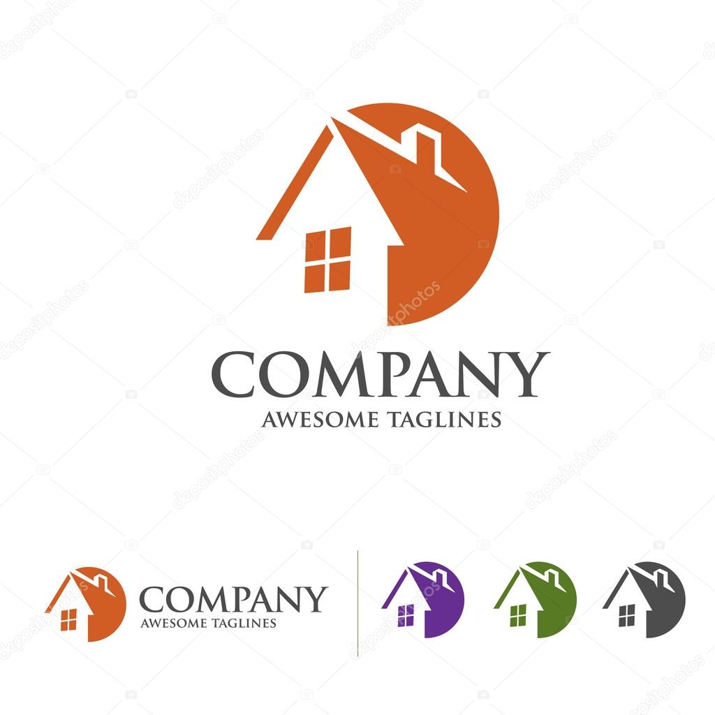 house and real estate logo with circle style concept