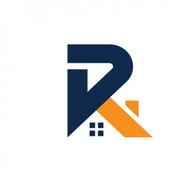 letter R with roofing style. real estate logo concept