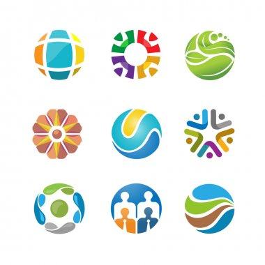 best abstract circle logo set design.