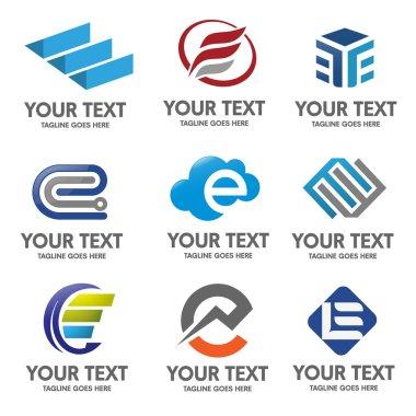 Elegant letter e logo vector set