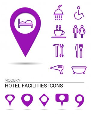 Hotel icons with different pointers.