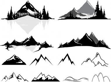 Various vector illustrations of mountains and hills, some realistic, some stylized. All objects can be ungrouped and easily moved around. If you want to move or copy an element it is very easy to do so. All colors also easily changeable via global sw stock vector
