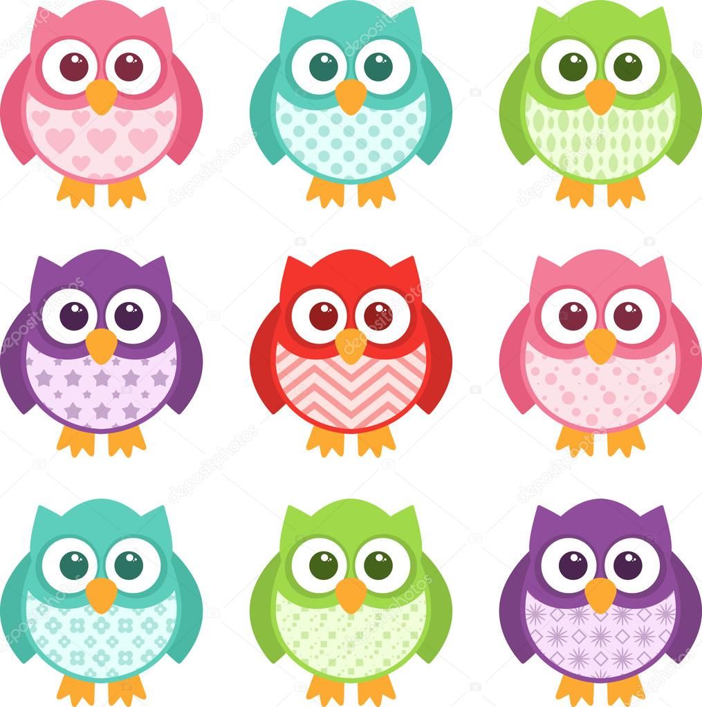 Cute Simple Cartoon Patterned Owls