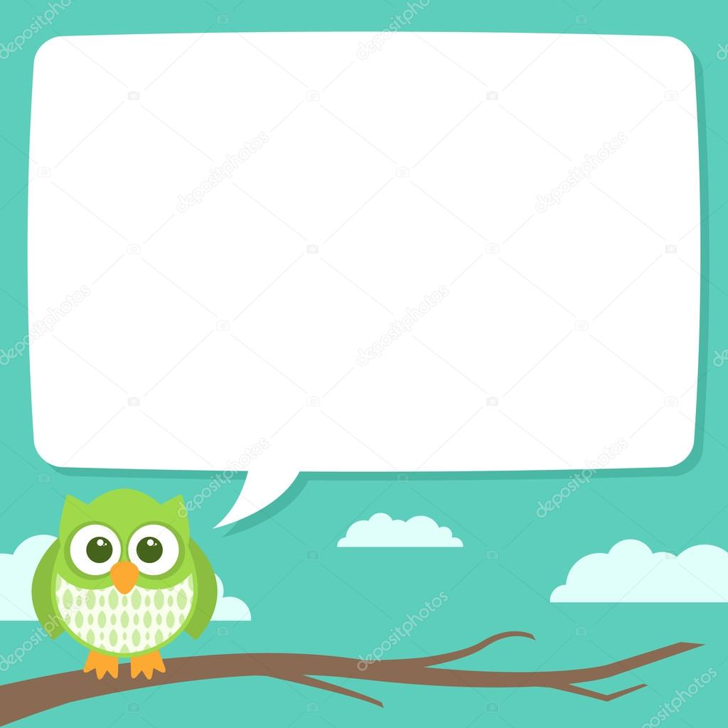 Cute Simple Cartoon Patterned Owls, Speech Bubblev