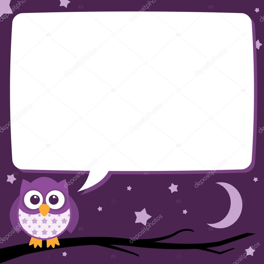 Cute Simple Cartoon Patterned Owls, Night Time Speech Bubble